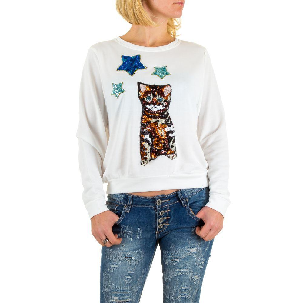 Женский свитшот с котенком и звездами из пайеток (Европа), Белый