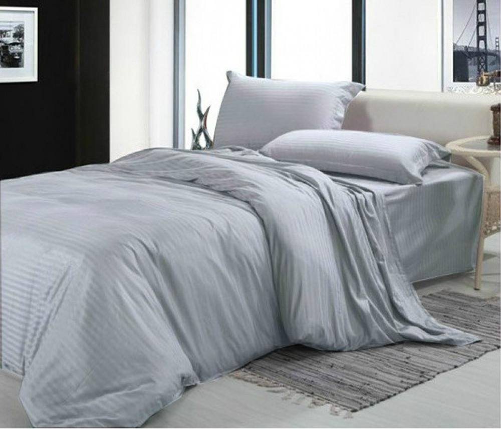 Постельное белье Постельное белье Сатин Stripe PREMIUM GRAY ТМ Комфорт-текстиль (Евро)
