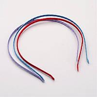 Металлический ободок для волос 110х5мм обтянут атласной лентой заготовка для рукоделия цвет красный