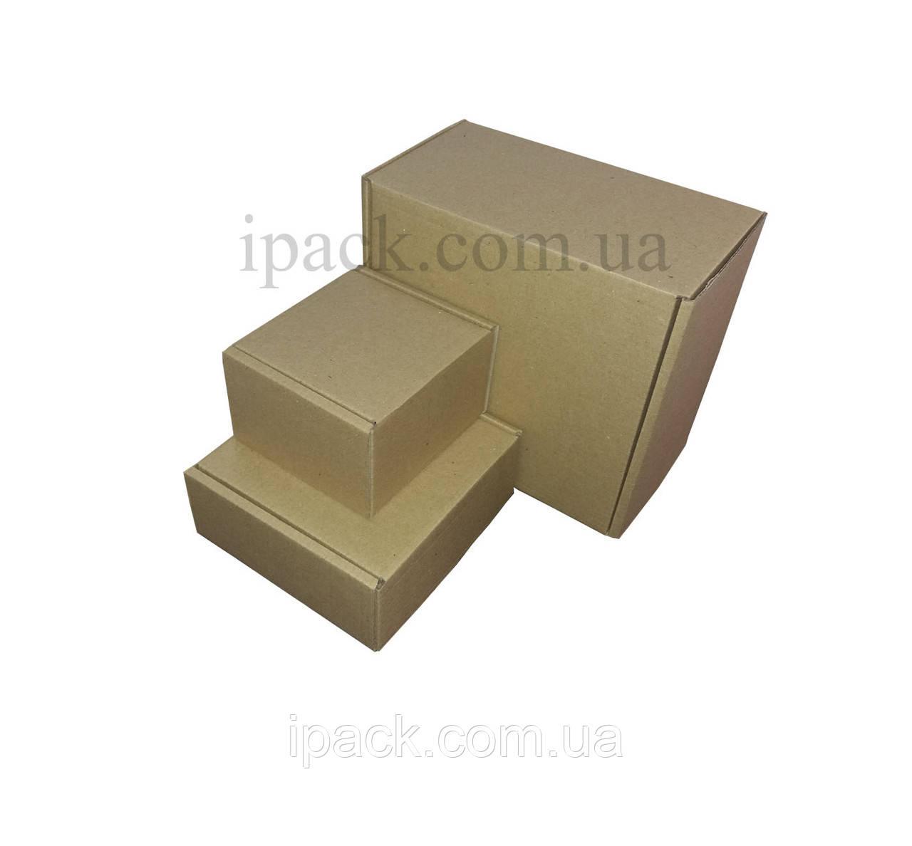 Коробка картонная самосборная, 225*160*50, мм, бурая,  крафт, микрогофрокартон