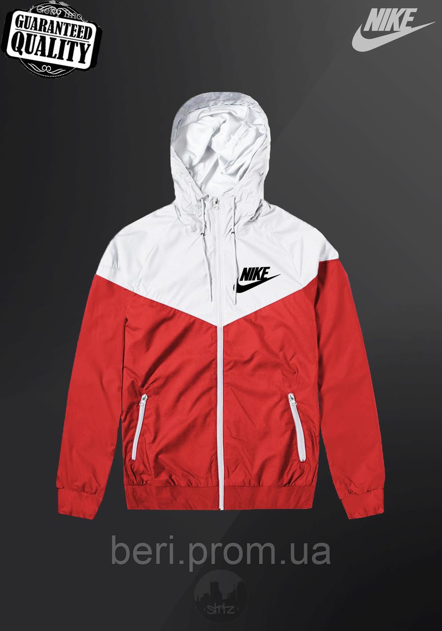 Мужская ветровка Nike Windrunner   куртка Виндранер   Чоловіча вітрівка Найк Віндранер (Красно-Белый)