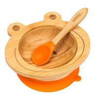 Набор детской посуды из бамбука на присоске Бабака, 250 мл. Оранжевая - 140115