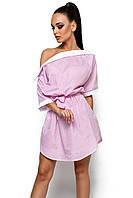 S-M   Стильне рожеве плаття в смужку Tira