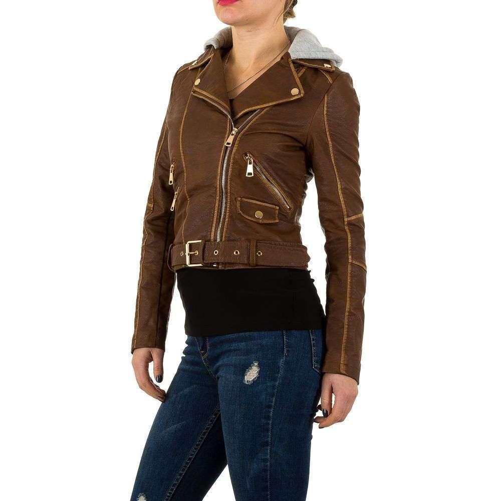 Байкерская куртка женская с капюшоном и контрастной строчкой (Европа), Коричневый