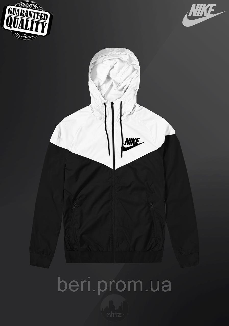 Мужская ветровка Nike Windrunner | куртка Виндранер | Чоловіча вітрівка Найк Віндранер (Черно-Белый)