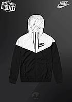 Мужская ветровка Nike Windrunner | куртка Виндранер | Чоловіча вітрівка Найк Віндранер (Черно-Белый), фото 1