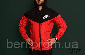 Мужская ветровка Nike Windrunner | куртка Виндранер | Чоловіча вітрівка Найк Віндранер (Черно-Красный)