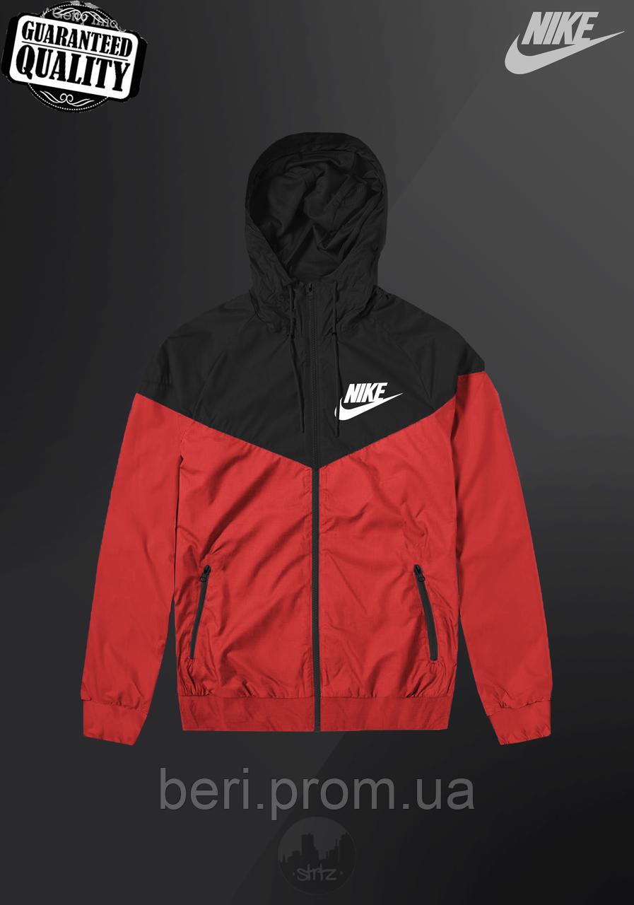 Мужская ветровка Nike Windrunner   куртка Виндранер   Чоловіча вітрівка Найк Віндранер (Черно-Красный)