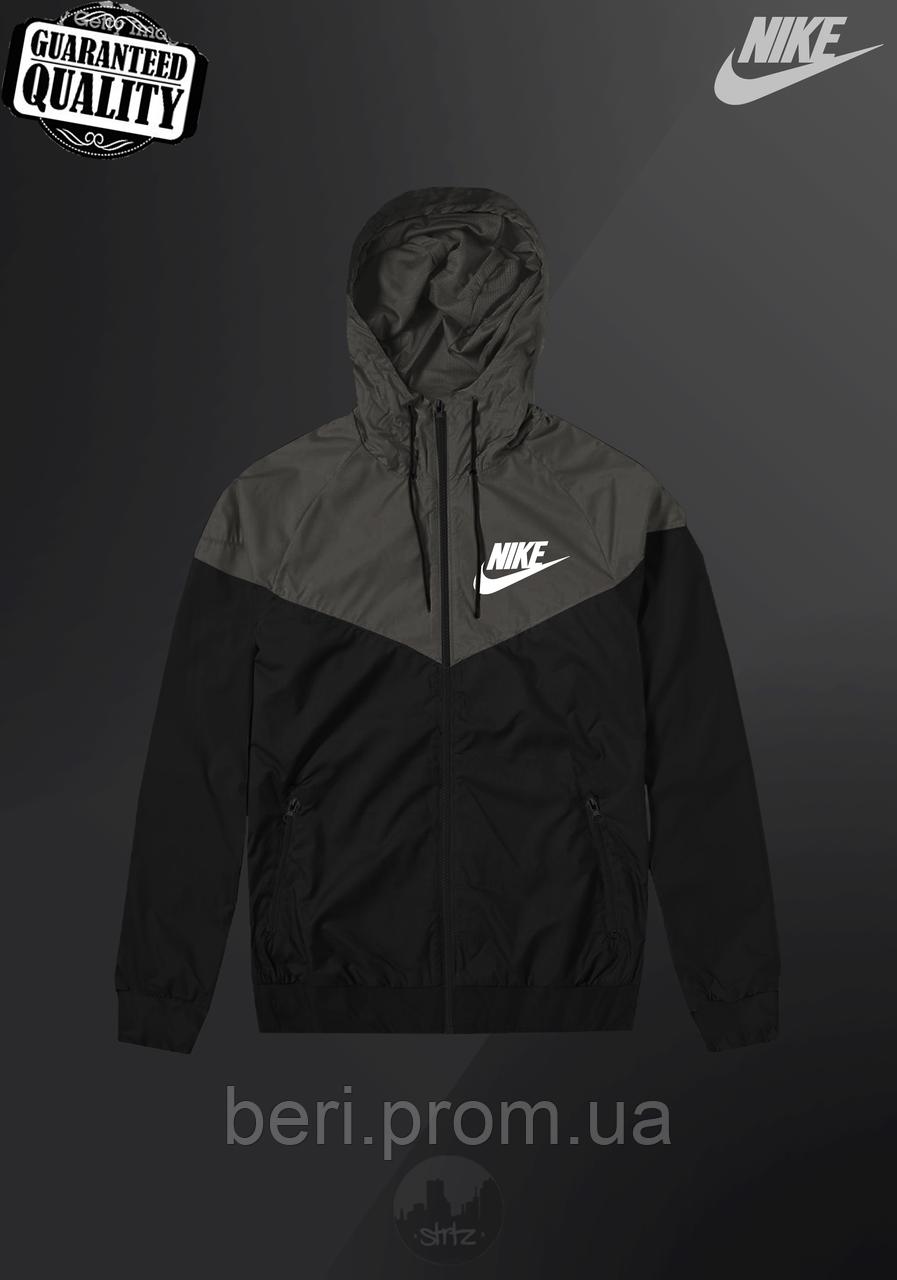 Мужская ветровка Nike Windrunner | куртка Виндранер | Чоловіча вітрівка Найк Віндранер (Черно-Серый)