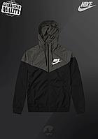 Мужская ветровка Nike Windrunner | куртка Виндранер | Чоловіча вітрівка Найк Віндранер (Черно-Серый), фото 1