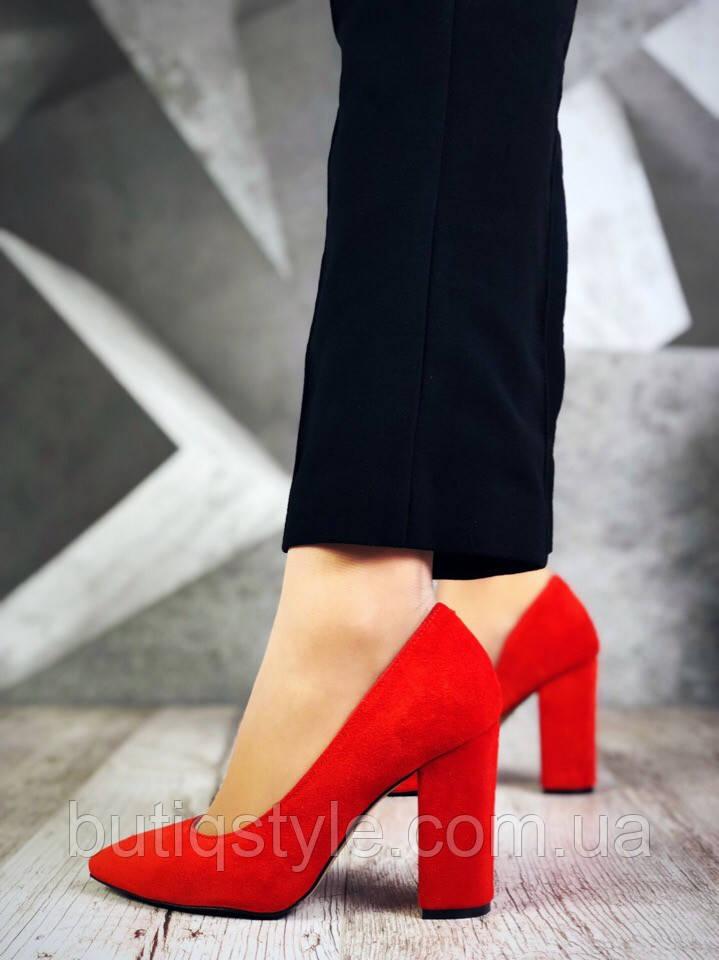 Женские красныетуфли  Luxury Chic натуральная замша толстый каблук