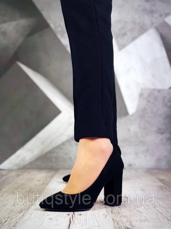 Черные женские туфли Luxury Chic натуральная замша, на каблуке