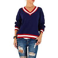 Женский пуловер с полосатой отделкой трехцветный (Европа), Синий