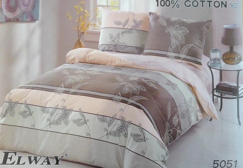 Сатиновое постельное белье полуторное  ELWAY 5051