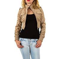 Куртка болеро женская с текстурой под замш (Европа), Коричневый