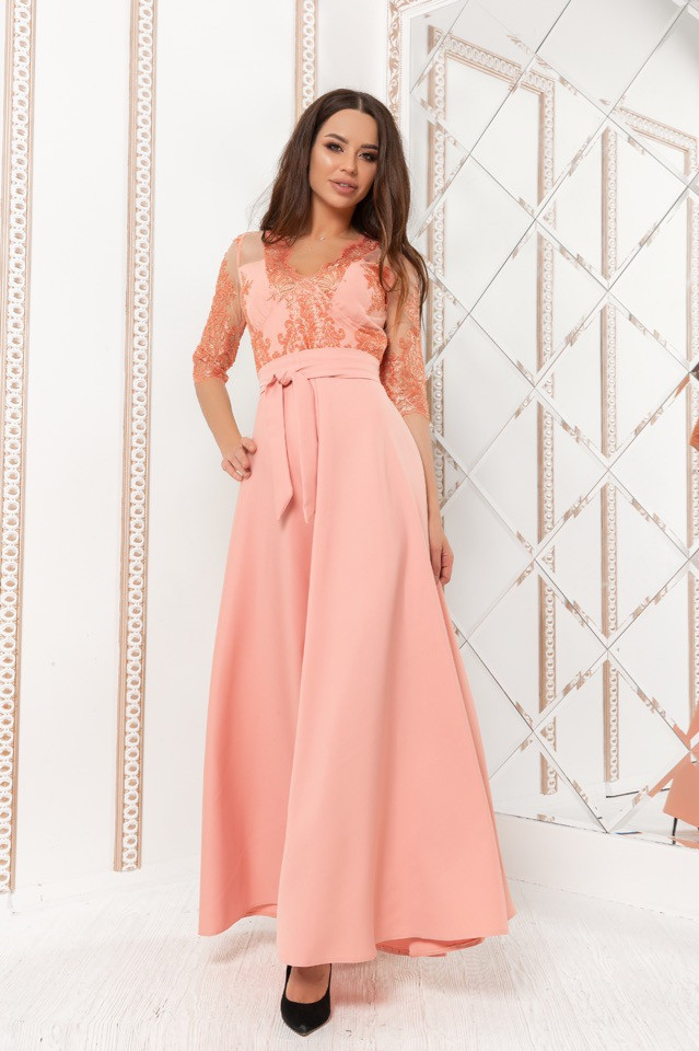 Длинное вечернее платье с кружевом (р.44-52)
