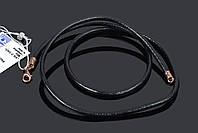 Кожаный шнурок - застежка серебро с позолотой