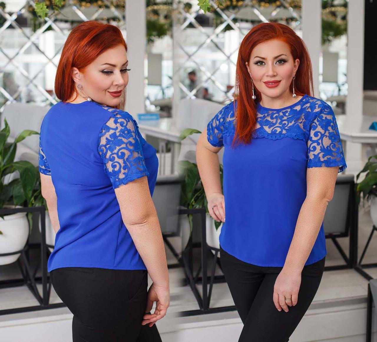 """Элегантная нарядная женская блузка до больших размеров 15155 """"Софт Кокетка Рукава Кружево"""" в расцветках"""