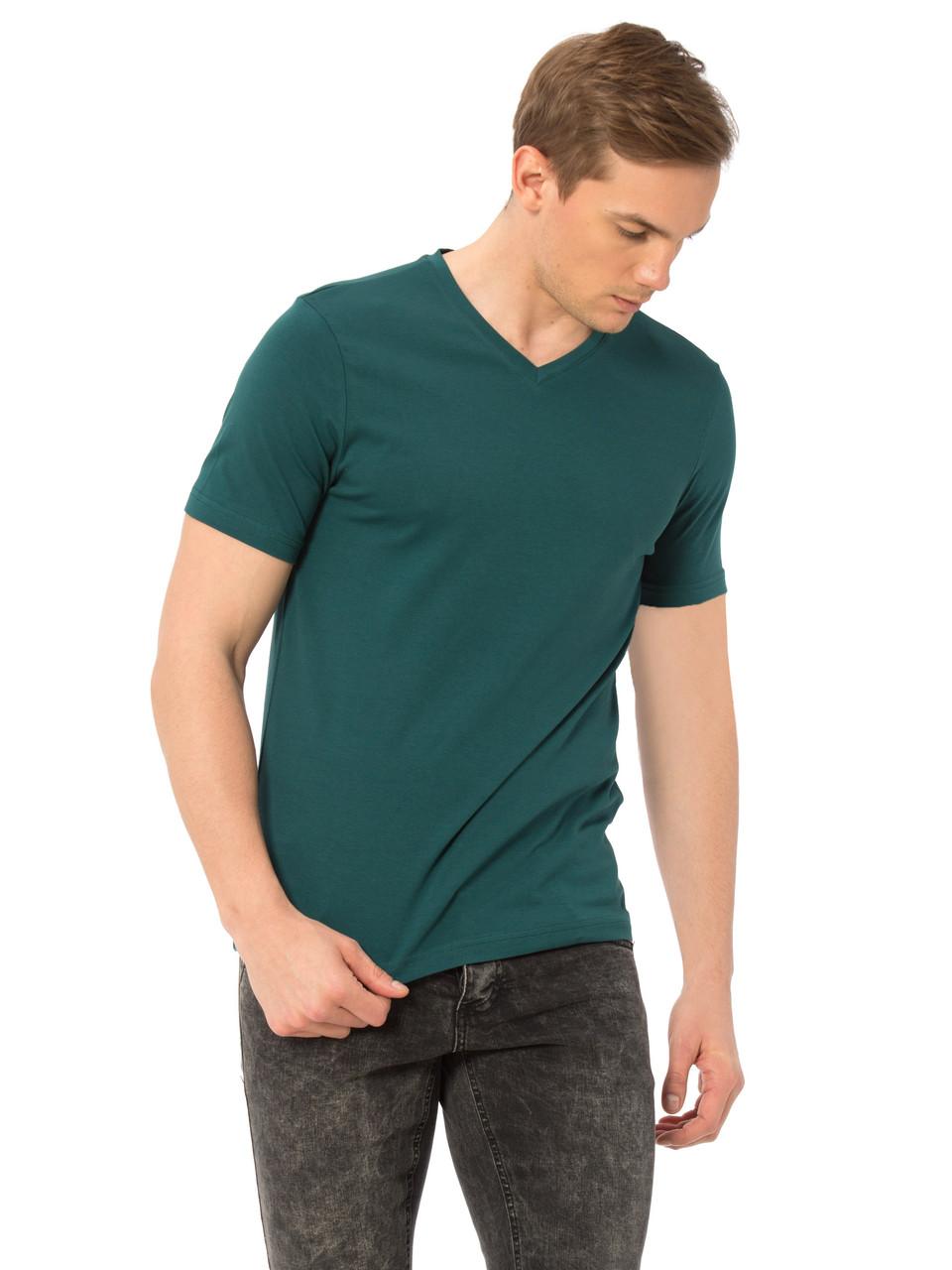 Зеленая мужская футболка LC Waikiki / ЛС Вайкики с V-образным вырезом