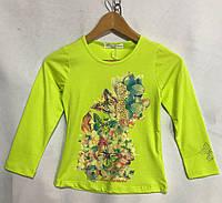 """Кофта детская для девочки, """"Бабочки"""", 6-10 лет, салатовая, фото 1"""