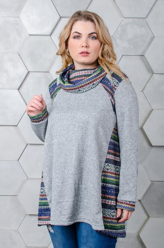 Модная туника размер плюс Касси светло-серый орнамент (52-66)