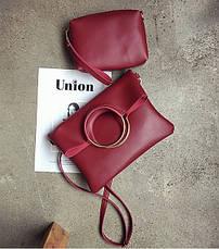 Женская сумкарозовая набор 2в1 из мягкой экокожи пот, фото 3
