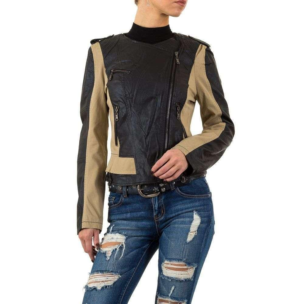 Куртка из кожзама с текстильными вставками Vivo Modo (Италия), Бежевый