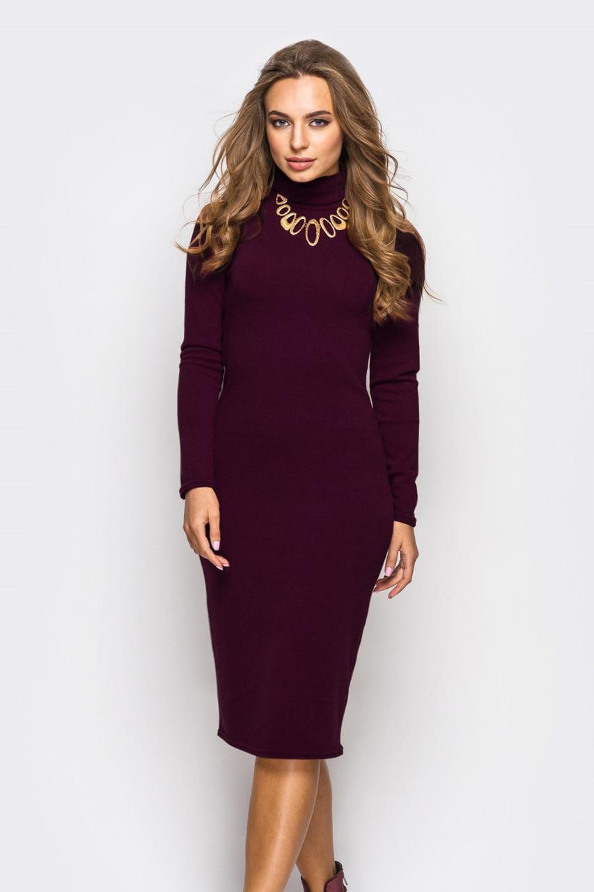 S-M / Стильное трикотажное платье Tirra, бордо