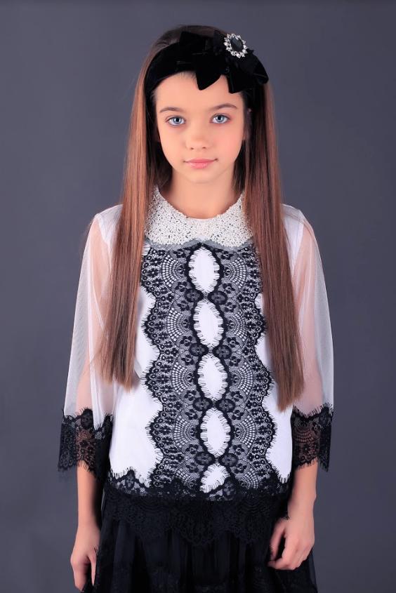 Школьная нарядная блузочка с воротником из биссера МОНЕ р-ры 122,128,140,146,152
