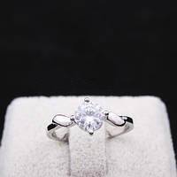 Кольцо имитация бриллианта серебристое