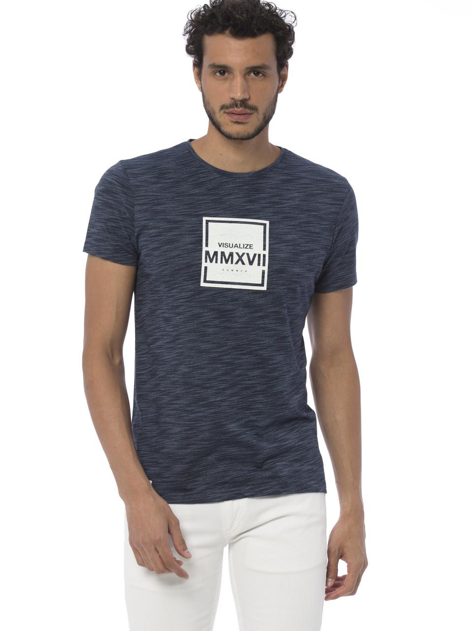 Синяя мужская футболка LC Waikiki / ЛС Вайкики с надписью Visualize