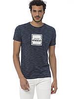 Синяя мужская футболка LC Waikiki / ЛС Вайкики с надписью Visualize, фото 1
