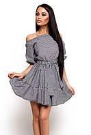 (S-M) Стильне сіре плаття в клітку Jenifer