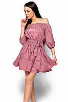 (S-M) Стильне червоне плаття в клітку Jenifer