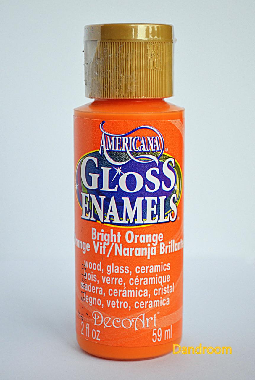 Краска акриловая непрозрачная, для стекла и керамики, Оранжевая, Americana, 59 мл, DecoArt