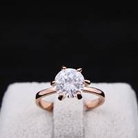 Кольцо имитация бриллианта золотистое