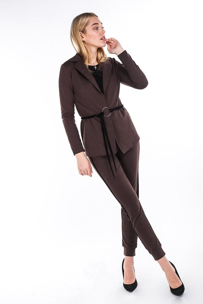 ffef7a85920 Женский брючный костюм в спортивном стиле шоколадный  продажа