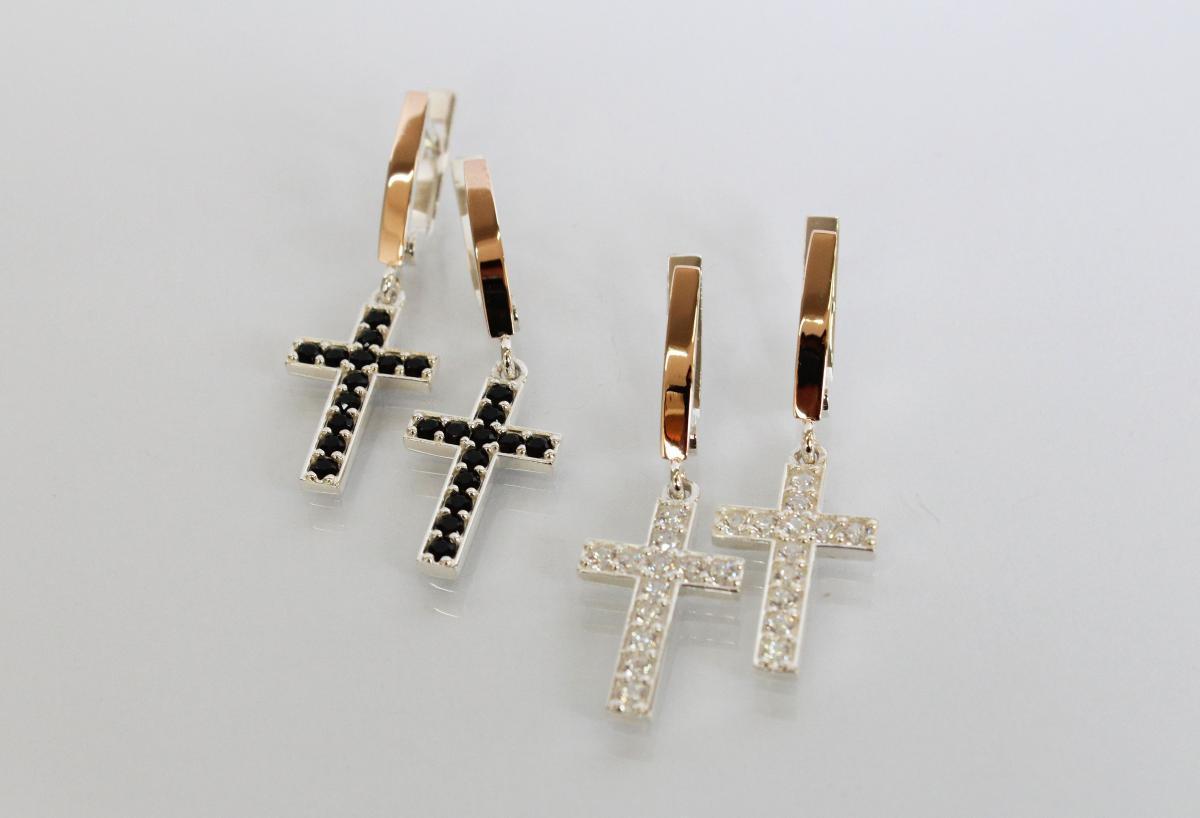 Серебряные серьги Крестики с золотыми вставками