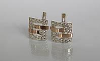 Серебряные серьги с золотыми вставками, фото 1
