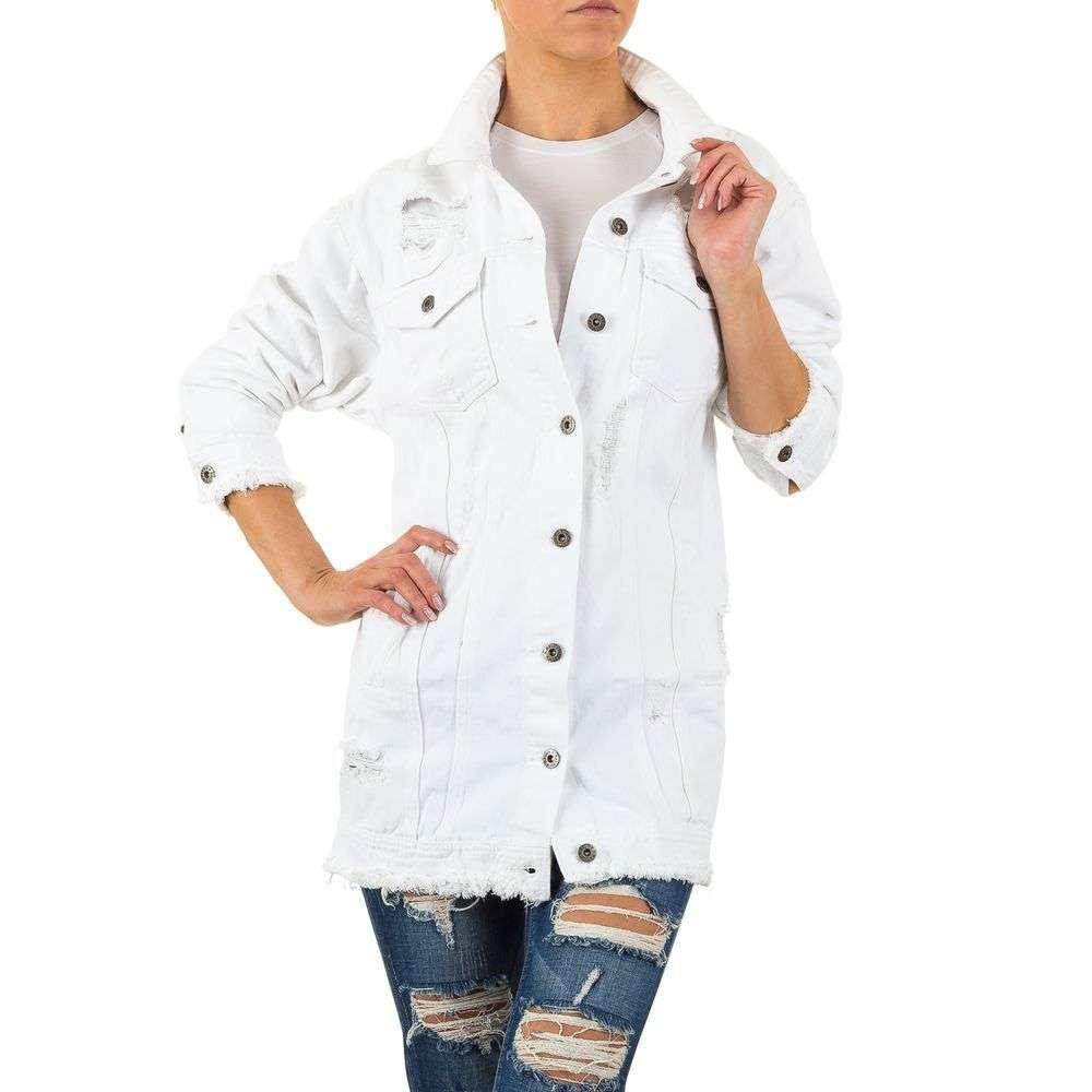 Белая рваная джинсовая куртка длинная Naumy Jeans (Италия) Белый