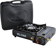 Портативная газовая плита двойного действия с адаптером в кейсе  WELL COOKER №66-3