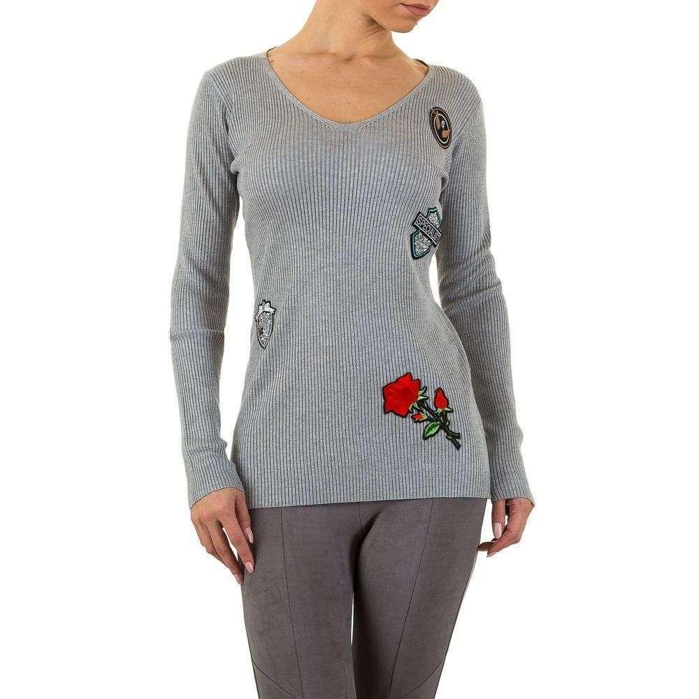Женский пуловер с нашивками бренда Emma&Ashley (Словения), Серый