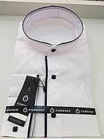 Турецкая белая рубашка с воротником-стойкой и синими вставками FIORENZO (размеры под заказ)