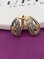 Красивые Серьги позолота XР. Медицинское золото. Код:3624
