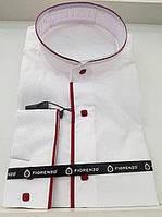 Турецкая белая рубашка с воротником-стойкой и красными вставками FIORENZO (размеры S.М + под заказ)