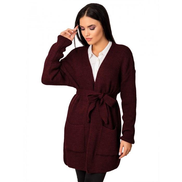 Вязаный кардиган пиджак кофта с поясом вязаная размер 44-50 оверсайз