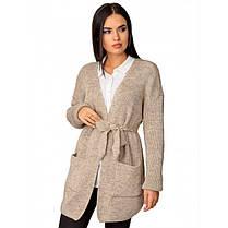 Вязаный кардиган пиджак кофта с поясом вязаная размер 44-50 оверсайз, фото 2