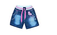 Детские джинсовые шорты для девочки на резинке и шнурке Турция