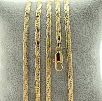 Цепочка Позолота 750 пробы длина 60 см, ширина 3 мм,Позолота 18К Xuping, медицинское золото,бижутерия xuping