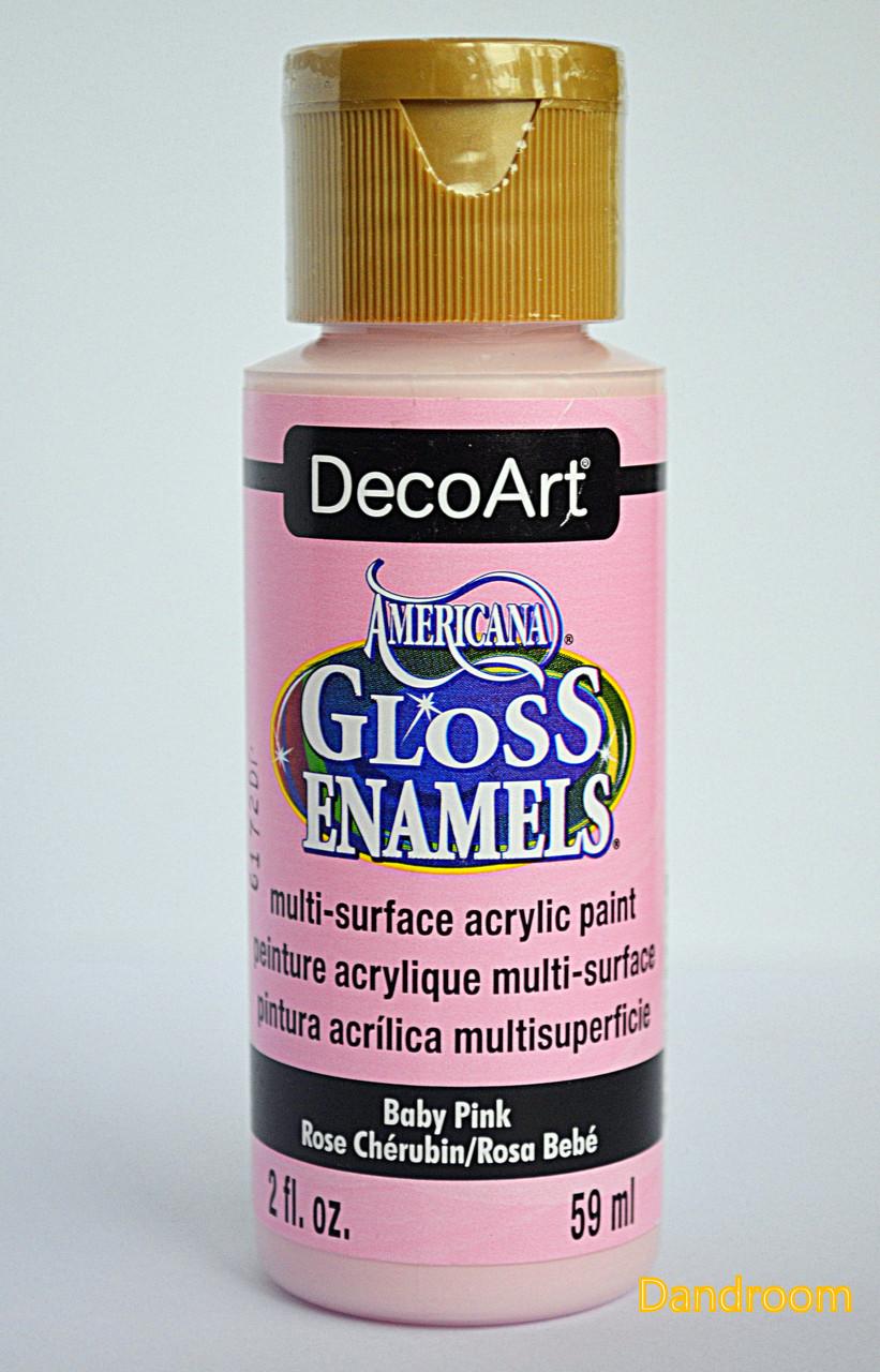 Краска акриловая непрозрачная, для стекла и керамики, Розовая светлая, Americana, 59 мл, DecoArt